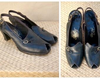 40s heels / peep toe pumps / navy blue, sling back heels / womens 5-5.5