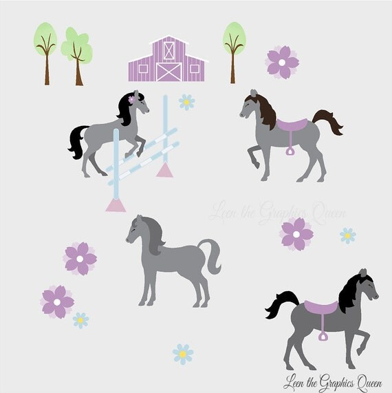 pretty horses reusable wall decals for by leenthegraphicsqueen reusable wall stickers with sharks sticker for children