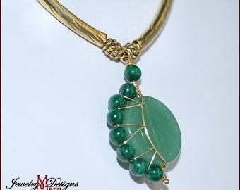 Crescent Moon Necklace in Green Aventurine and Malachite Genuine Gemstones