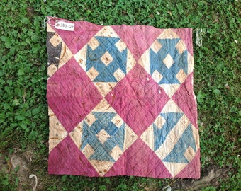Vintage Hand Quilted Feed Sack Fabric Churn Dash Cutter Quilt Piece