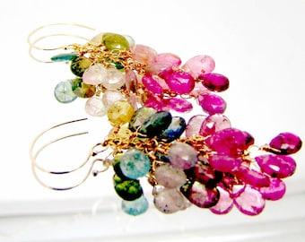 14k gold yummy tourmaline briolette cluster earrings