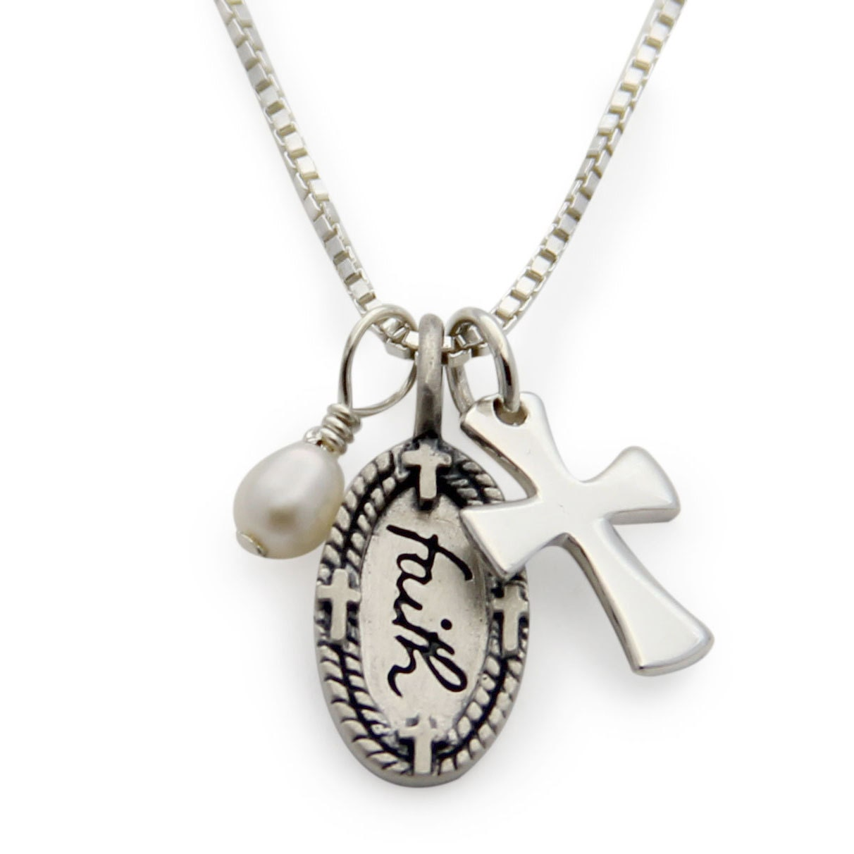 faith necklace silver faith cross charm necklace dainty