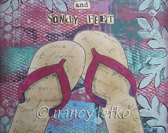peace love and sandy feet - 8 x 8 Original Collage on Canvas by Nancy Lefko