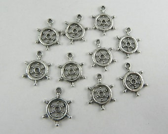 20 Nautical Ship Helm Charms in Antique Silver 20mm x 17mm - H01