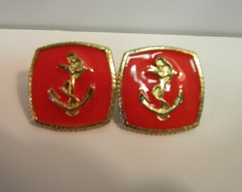 Vintage 1980's Red Anchor Post earrings, July 4th, Nautical Red & Gold Earrings, Summer Fashion