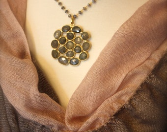 Handmade Museum Quality Labradorite Medallion Necklace- Gold Filled Very Limited Edition by Yania Creations