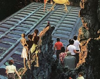 at the archipelago's edge - 9X12 collage art print
