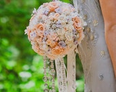 Softest peach and lavender crystal draping rose brooch bouquet -- deposit on a made-to-order wedding bouquet