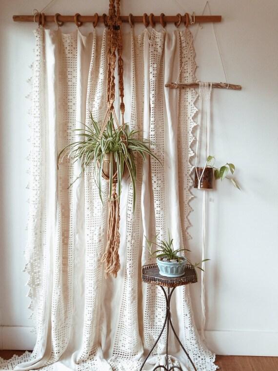 Vintage Homespun Linen And Cotton Crochet Window Panel