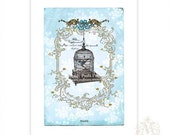 Bird cage, print, French, vintage style, caged bird, vintage bird cage,  blue, romantic, French vintage, home decor, Giclee, A4 print
