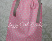 Girls Pillowcase Dress Pink with Silver Grey Dots with Ribbon Ties Over Both Shoulders