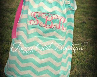 Girls Monogrammed Pillowcase Dress Shown in Seafoam Green Chevron You Can Choose a Different Fabric