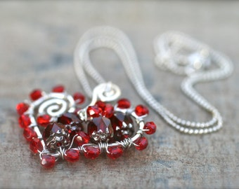 Red Heart Crystal Wire Wrapped Free Formed Sterling Silver Hammered, 16 Inches, Heart Pendant, Heart Jewelry