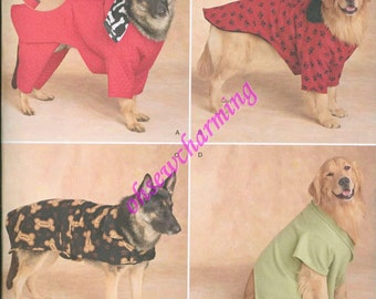 Simplicity 2303 Large Dog Pet Coats Gifts Quilted Jacket Fleece Hood