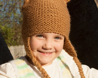 Light Brown Teddy Bear Hat for 3-6 Year Olds