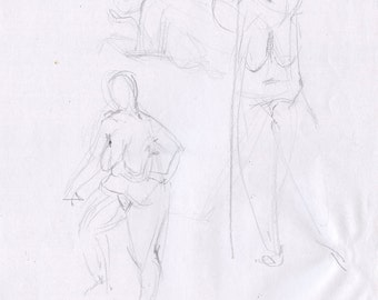 Original Drawing Nude  Female Graphite Figure Sketch - Woman Three Views