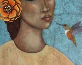 Hummingbird & Flower Portrait Folk Art Original Print of Painting by Tamara Adams