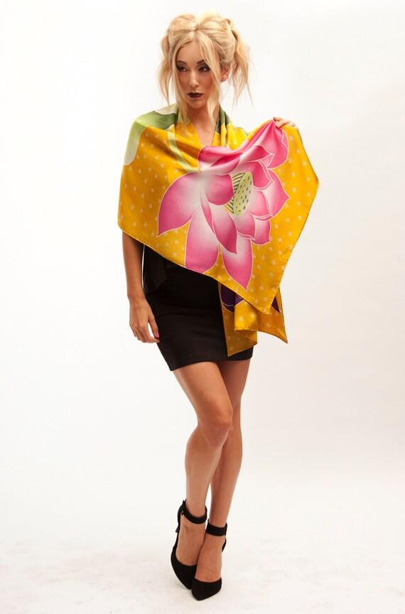 Lotus silk scarf, Unique silk, Flower scarf, Unique handmade scarf, Floral scarf, Pink floral silk, Luxury scarves, Wife Gift, Xmas Gift