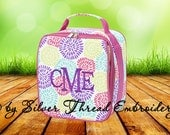 Personalized Lunch Bag Floral Monogrammed School Snack Box