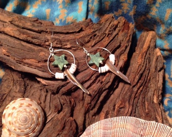 Yemaya Earrings, Shell, African Turquoise Stars