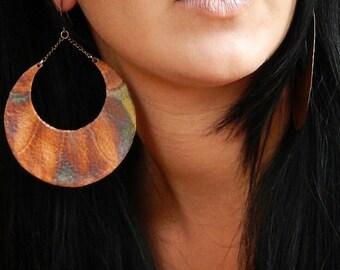 Extra Large Moon Earrings, Crescent Moon Earrings, Hammered Copper Earrings, Statement Earrings, Large Hoop Earrings,