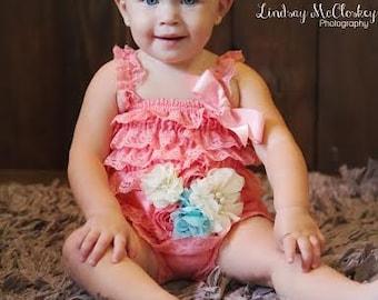 Baby Headband in Coral- Baby Girl Headband -Coral and Aqua Flower Headband -Baby Headband - Photo Prop