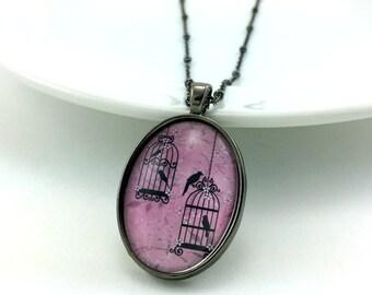 Pink Birdcage Necklace - Birdcage Jewelry - Pink Bird Necklace - Bird Jewelry - Vintage Style Birdcage - Glass Tile Jewelry - Bridal Jewelry