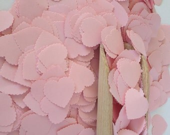 Pink Baby Shower Heart Confetti- Vintage Shabby Chic - wedding confetti, girl baby shower decoration, table scatters