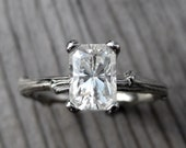 Emerald Cut Moissanite Twig Engagement Ring: White, Yellow, or Rose Gold; 1.2ct Forever Brilliant ™