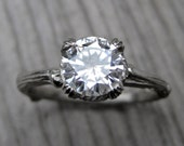 Moissanite Branch Engagement Ring: White, Yellow, or Rose Gold; Carved Floral Setting; 1ct Forever Brilliant ™