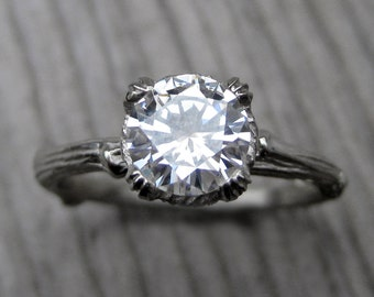 Moissanite Branch Engagement Ring: White, Yellow, or Rose Gold; Carved Floral Setting; 1ct Forever One ™