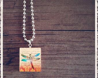 Scrabble Tile Art Necklace - Blue Dragonfly - Scrabble Pendant Jewelry Charm - Customize