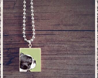 Scrabble Letter Necklace, Boston Bull Dog Necklace, Scrabble Necklace, Scrabble Charm Necklace, Scrabble Pendant, Gift Idea