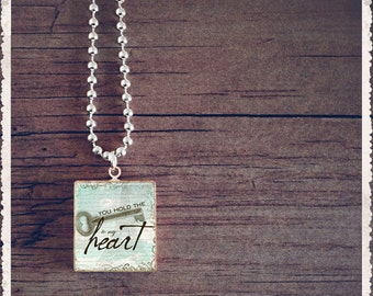 Scrabble Game Tile Jewelry - Inspiration Series - Key To My Heart - Scrabble Pendant Charm - Customize