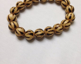Painted Wooden Bead Bracelet