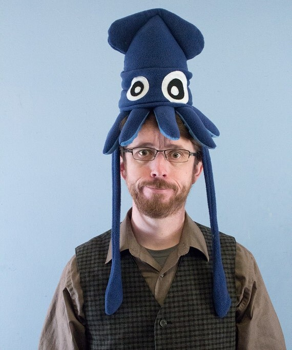 Plush Squid Hat - Small Dark Blue Fleece