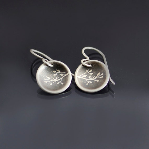 Tiny Bird on Branch Earrings - Etched Sterling Silver Earrings