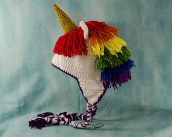 Rainbow Unicorn Hat, Crochet Hat, Halloween Costume