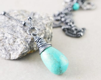 Turquoise Drop Necklace, Robins Egg Blue Necklace, December Birthstone, Sleeping Beauty