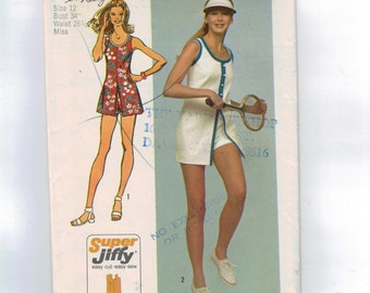 1970s Vintage Sewing Pattern Simplicity 9966 Misses Mini Dress Short Shorts Super Jiffy Easy Tennis Outfit Size 12 Bust 34 1972 70s