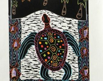 Woodblock Print Rainbow Turtle Hand Pulled Color Printmaking