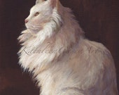 White Cat Painting original art 8x10 inches on canvas