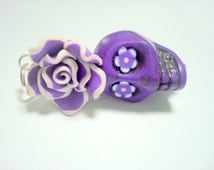 Large Purple Sugar Skull Rose Day of the Dead Pendant or Ornament