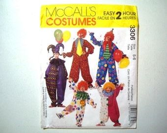 McCalls 3306 Child Costumes Pattern CLOWNS and JESTER DIY Halloween Dress Up Size 5-6 Easy 2 Hour Pattern