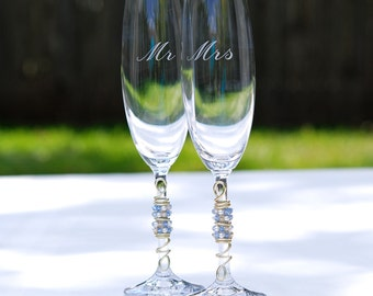 ENGRAVED Toasting Flutes, Beaded Champagne Flute, Mr Mrs Flutes, Personalized Flutes, SWAROVSKI Crystal, Pearl, Something Blue And Champagne