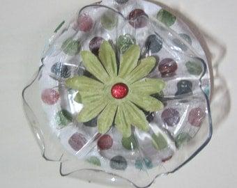 Polka Dot Green Floral Ornament Mixed Media Recycled Repurposed Art