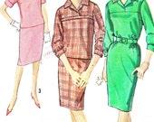 1960s Dress Pattern Simpilcity 5057 One or Two Piece Dress Sheath Skirt Yoked Blouse Womens Vintage Sewing Pattern Bust 34 Uncut