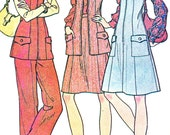Princess Seam Pinafore Dress Sleeveless Vest A Line Skirt Bootcut Pants 1970s Vintage Sewing Pattern McCalls 3773 Bust 39 Plus Size Uncut