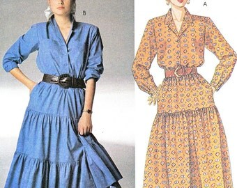 1980s Dress Pattern McCalls 3257 Country Western Tiered Dress Prairie Dress Womens Vintage Sewing Pattern Bust 31 1/2 - 32 1/2 - 34 Uncut