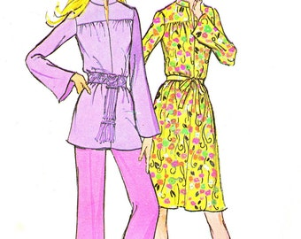 1970s Yoked Flared Skirt Knit Dress Hip Length Tunic Straight Leg Pants Vintage Sewing Pattern McCalls 3168 Bust 32 1/2
